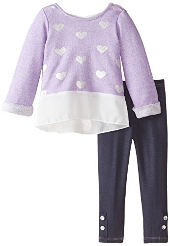 887847676298 - Nannette Little Girls' 2Pc Fashion Knit Pant Set with French Terry Top, Purple, 4 carousel main 0