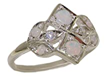 buy Vintage Style Solid 925 Sterling Silver Natural Opal & Diamond Ring - Size 8.25 - Sizes 4 To 12 Available