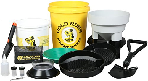 Gold Rush Nugget Bucket - Deluxe Gold Panning and Prospecting Kit With Folding Shovel (Yellow) (Kids Gold Panning Kit compare prices)