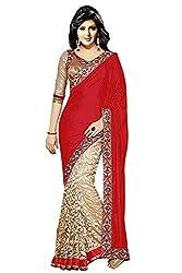 Vatsla Woman's Heavy Brasoo Red Saree