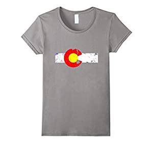 Women's Vintage Patriotic Flag of Colorful Colorado Shirt Large Slate