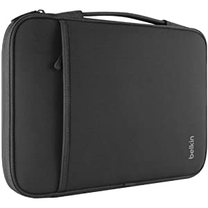 Belkin Slim Protective Sleeve with Carry Handle and Zipped Storage for Chromebooks, Netbooks and Laptops up to 13 inch - Black