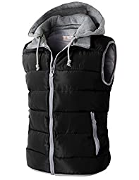 H2H Men Active Slim Fit Lightweight Puffer Easy Care Hoodie Vest With Pockets BLACK US M+/Asia XXL (KMOV0108)