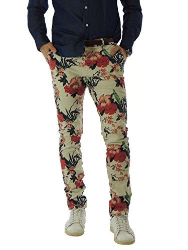 Pantalone uomo Scotch&Soda chino a fantasia floreale 80001C panna 31