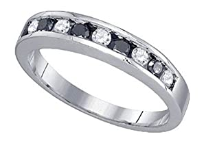 0.54 cttw 10k White Gold Black Diamond White Diamond Wedding Band Channel Set Stackable 3mm (Sizes 3-11)