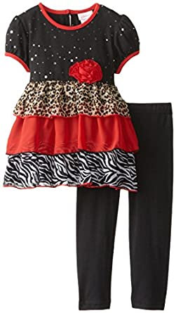 Youngland Little Girls' Tiered Animal Print Legging Set, Red/Multi, 2T