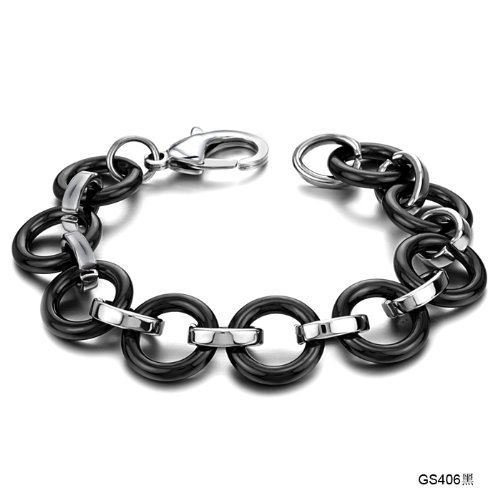 Opk Jewellery Fashion Unisex Tennis Bracelets Black Round Ceramic And Stainless Steel Link Chains Bangle 8.66 Inch Length 17mm Width 39g Weight Popular Concise And Classic Wristband Gift