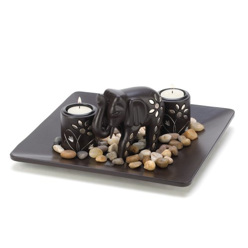 Gifts & Decor Tealight Candleholder Plate Light Set with Elephant Figure