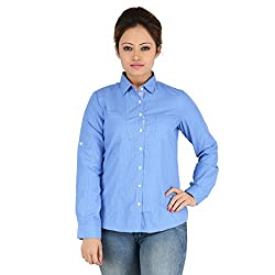Elle Et Lui Women's Shirt (LPC0815HATCH1299S_White Blue_Small) (Large)