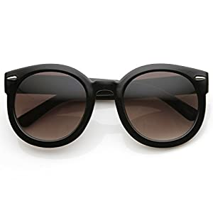 Fashion Vintage Round Thick Horn Style Sunglasses (Black Lavender)