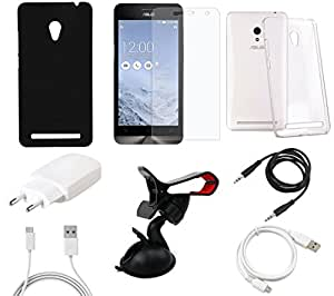 NIROSHA Tempered Glass Screen Guard Cover Case Charger USB Cable Mobile Holder for ASUS Zenfone 5 - Combo