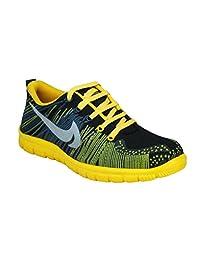 AZAZO Men Sedna Black-Yellow Lace Up Mesh Sports Shoes