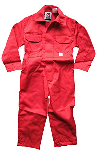WWK / WorkWear King Boy's Kids Childrens Boilersuit Coveralls Overalls (Size 24, 3-4 Years, Red)