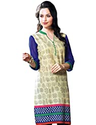 Exotic India Asparagus-Green And Blue Kurti With Printed Motifs - Green