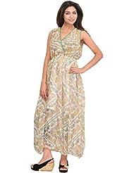 Exotic India Snow-White Summer Dress With Printed Paisleys And Waist Sas - White