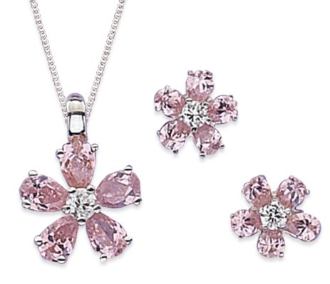 Elina H Sterling Silver Flower Cubic Zirconia Jewellery Set