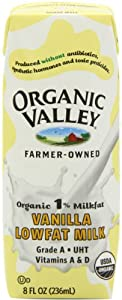 Organic Valley 1% Vanilla Lowfat Milk, 8-Ounce Aseptic Carton (Pack of 12)