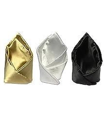 Combo of VIBHAVARI Men's White Pocket Square - Pack of 3