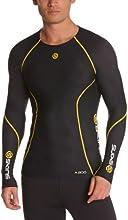 Skins A200 Top de compression manches longues Homme Noir/Jaune FR : S (Taille Fabricant : S)