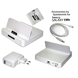 Dockingstation Galaxy Tab - Cradle for Samsung Galaxy Tab Tablet PC P1000 to Charge and Sync (synchronization) over USB with PC - incl EU Mains Charger Adaptor & USB Cable - white