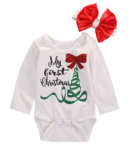 [Newborn Baby Boy Girl Long Sleeve My First Christmas Romper Jumpsuit Outfits (0-3 Months, White)] (Christmas Outfit)