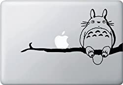 My Neighbor Totoro on branch with his friend Apple - Vinyl Laptop or Macbook Decal