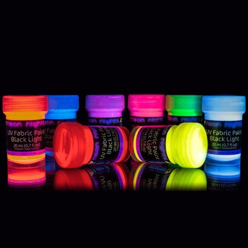 neon nights 8 x Vernice per tessuto UV lavabile per abiti T-shirt Colorata Neon