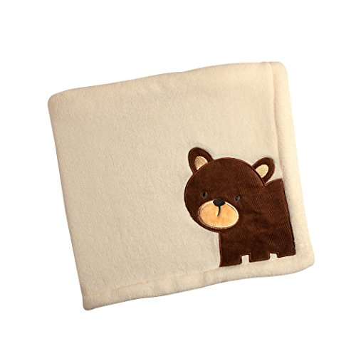 Carter's Friends Collection Baby Blanket and Coral Fleece with Bear Applique, Border/Bear - 1