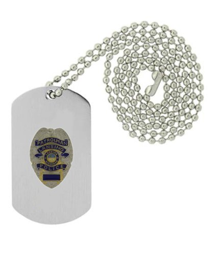 Military Emblem Dog Tag W/ Metal Chain Necklace - Law Enforcement Pin Collector Series - Police Badge Pins - Lansing, Mi