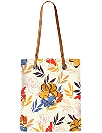 Snoogg Colorful Flowers Womens Digitally Printed Utility Tote Bag Handbag Made Of Poly Canvas With Leather Handle