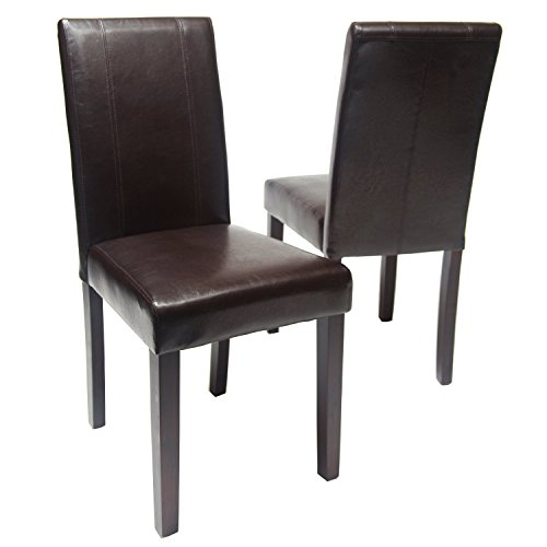 Gtu furniture set of 2 pu leather elegant modern dining for Modern brown leather dining chairs