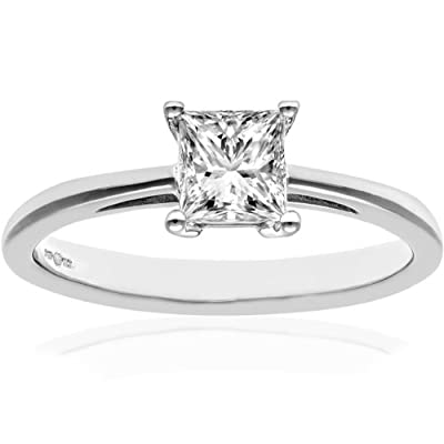 Naava 18ct White Gold Engagement Ring, J/I Certified Diamond, Princess Cut