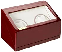 Diplomat 31-527 Double Cherry Wood Watch Winder with White Leatherette Interior and Built In IC Timer