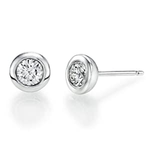 Diamond Earrings in 14K Gold / White - GIA Certified, Round, 0.64 Carat, G Color, VS2 Clarity