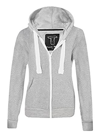 Ladies New Plain Casual Long Sleeve Pocket Hoody Top Womens Fixed Hood Stretch Front Zip Contrast Drawstring Detail Basic Hooded Jacket WOMENS PLAIN HOODIE LADIES HOODED ZIP ZIPPER TOP SWEAT SHIRT JACKET COAT SWEATER, SIZES (S-XL) (S, Grey)