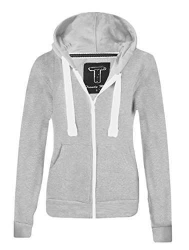 Ladies New Plain Casual Long Sleeve Pocket Hoody Top Womens Fixed Hood Stretch Front Zip Contrast Drawstring Detail Basic Hooded Jacket WOMENS PLAIN HOODIE LADIES HOODED ZIP ZIPPER TOP SWEAT SHIRT JACKET COAT SWEATER, SIZES (S-XL) (L, Grey)