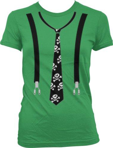 Skull And Bones Neck Tie And Suspenders Juniors Gothic Design T-Shirt, Fake Tie Juniors Shirt, Medium, Kelly