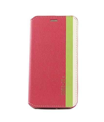 Exclusive Flip Case Cover For HTC DESIRE 816 / 816G - Dark Pink Cover In Thik Green And Cream Strips With Silver Color Lable