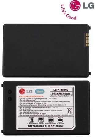 LG 950mAh Original OEM Battery for the LG Cosmos VN250 and Octane VN530 - Non-Retail Packaging - Black (Battery Lg Octane compare prices)