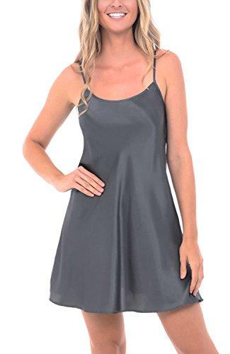 Del Rossa Women's Satin Nightgown, Long Camisole Chemise, Medium Steel (A0766STLMD)
