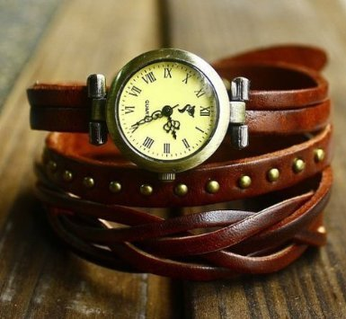 Jirong Vintage Style Chocolate Leather Bracelet Wrap Watch, Rivet Bracelet Watch Handmade Women's Watch SL2279