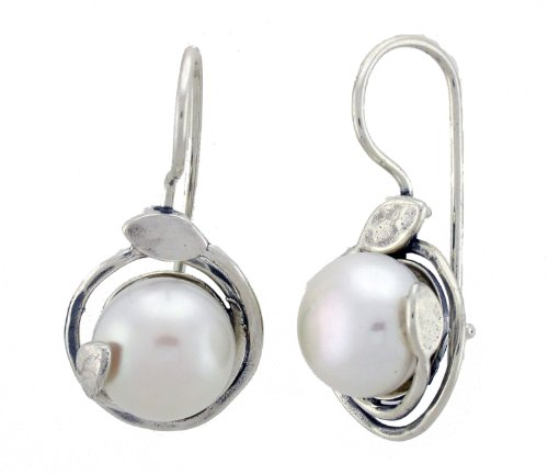 Jewish Jewelry, 925 Silver Earring Set with White Round Fresh Water Pearl. Hook Earrings with Lock Back. Great Gift for All Occasions. Hand Made in Israel By Bili Silver. Gift Box Included.
