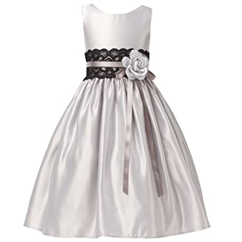 Kids girls silver satin flower lace sash christmas dress clothing