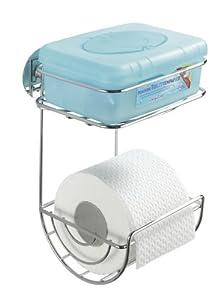Wenko 18773100 Turbo-Loc WC-Rollenhalter mit Ablage - Befestigen ohne bohren, Metall - Stahl, 16,5 x 24,5 x 14 cm, Silber