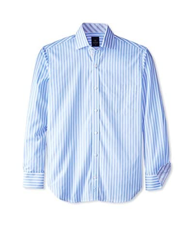 TailorByrd Men's Long Sleeve Shirt with Reverse Stripe Cuff