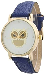 Ladies Owl Design Leather Watch - Royal Blue