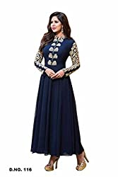 Zeel Fashion Women's Georgette Unstitched Dress Material (zf17_Blue_Free Size)