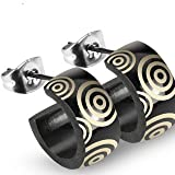 Black Stainless Steel Wide Loop Ear Stud With Tribal Circles Design