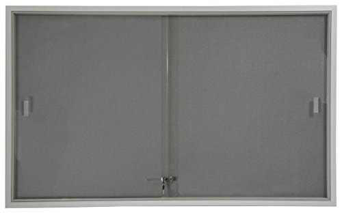 Displays2go 5 x 3 Inches Indoor Bulletin Board with Sliding Glass Doors, 60 x 36 Inches Enclosed Notice Board with Gray Fabric Interior, Aluminum (FBSD63SVLG) (Glass Door Bulletin Board compare prices)