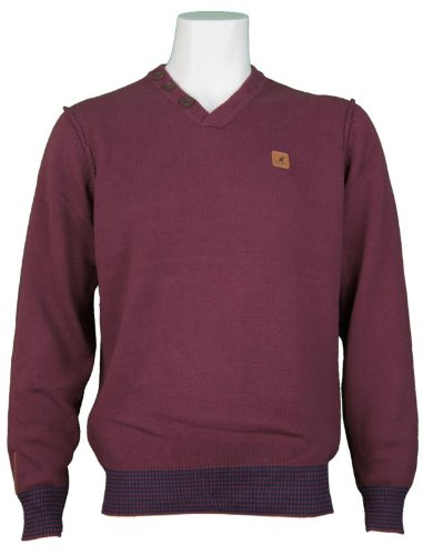 New Kangol Mens V-Neck Neck Knitted Jumper, In Port. Size Medium - Style Bing - K604390